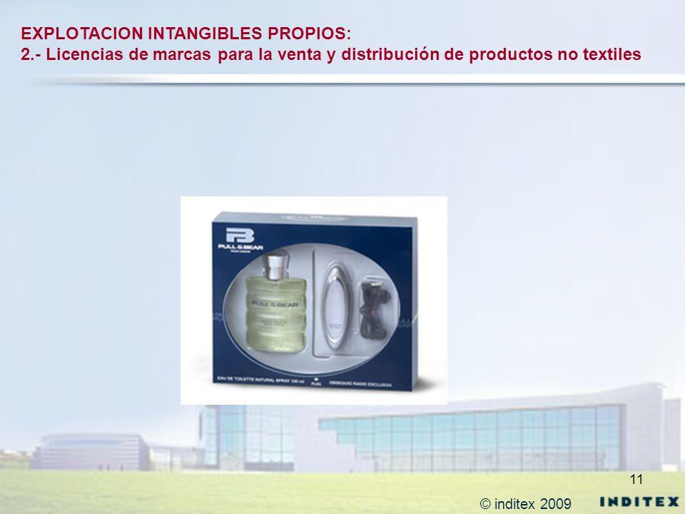 11 EXPLOTACION INTANGIBLES PROPIOS: 2.- Licencias de marcas para la venta y distribución de productos no textiles © inditex 2009
