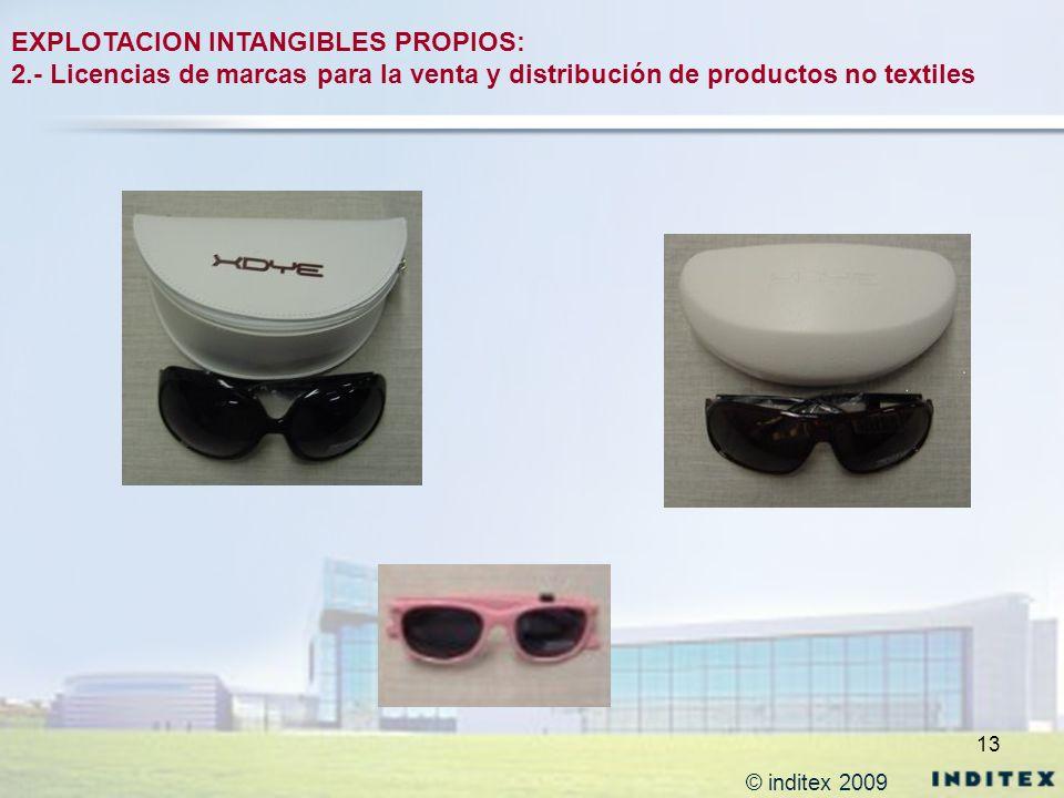 13 EXPLOTACION INTANGIBLES PROPIOS: 2.- Licencias de marcas para la venta y distribución de productos no textiles © inditex 2009