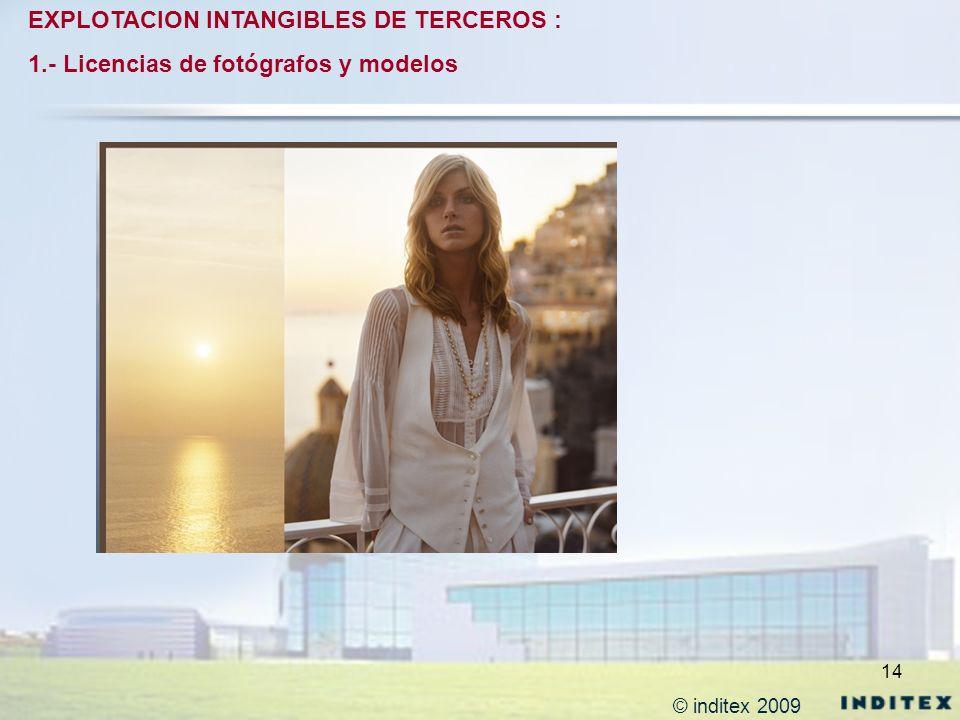 14 EXPLOTACION INTANGIBLES DE TERCEROS : 1.- Licencias de fotógrafos y modelos © inditex 2009