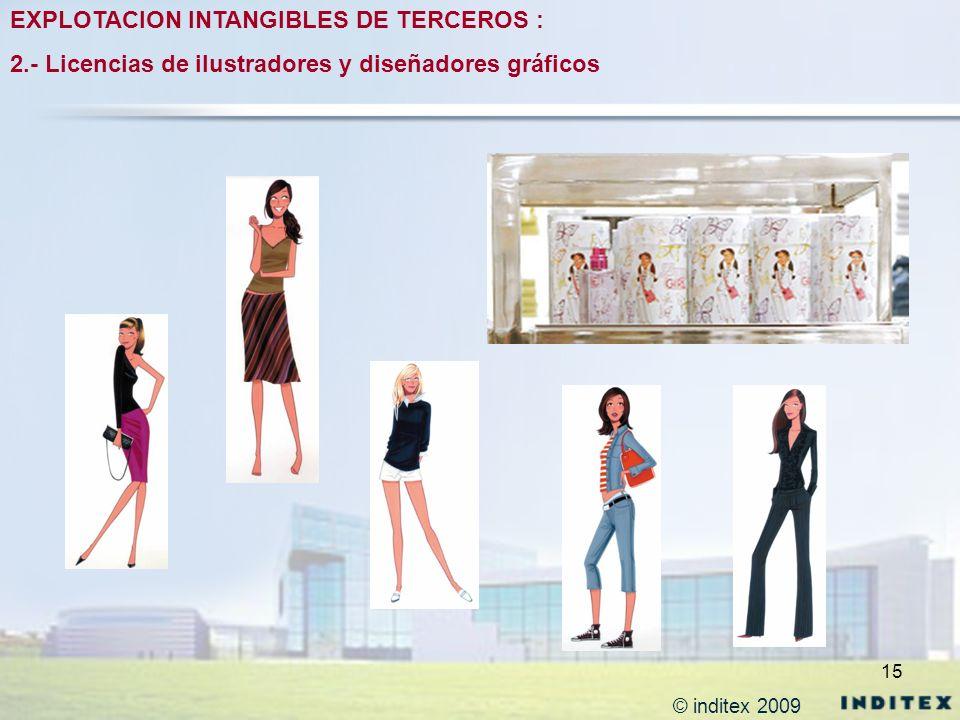 15 EXPLOTACION INTANGIBLES DE TERCEROS : 2.- Licencias de ilustradores y diseñadores gráficos © inditex 2009