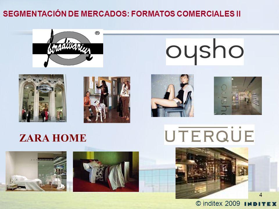 4 ZARA HOME SEGMENTACIÓN DE MERCADOS: FORMATOS COMERCIALES II © inditex 2009