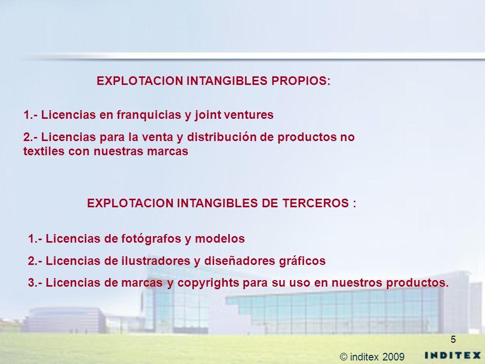 5 EXPLOTACION INTANGIBLES PROPIOS: 1.- Licencias en franquicias y joint ventures 2.- Licencias para la venta y distribución de productos no textiles c
