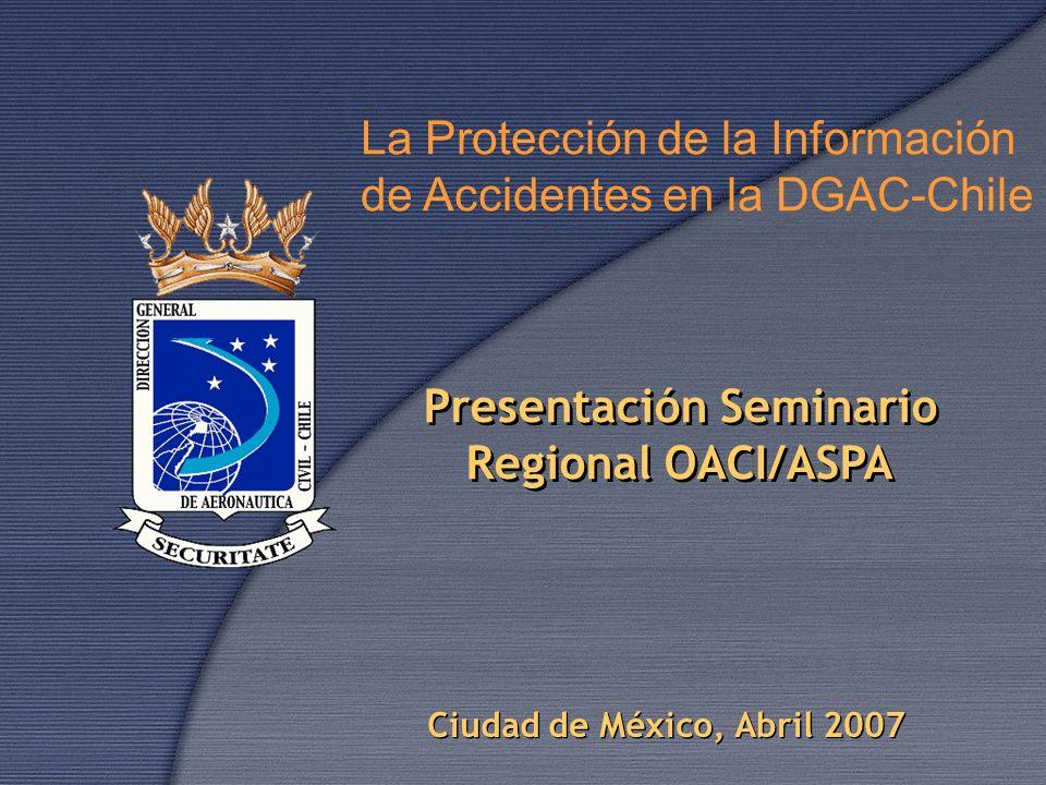 Presentación Seminario Regional OACI/ASPA Presentación Seminario Regional OACI/ASPA Ciudad de México, Abril 2007 La Protección de la Información de Ac