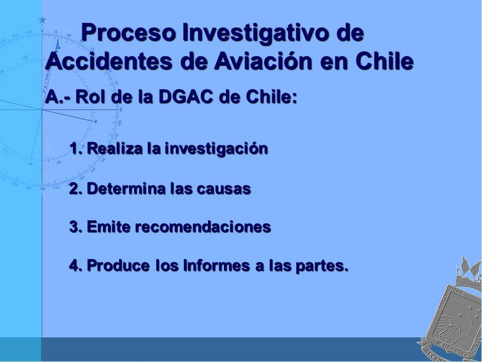Proceso Investigativo de Accidentes de Aviación en Chile Proceso Investigativo de Accidentes de Aviación en Chile A.- Rol de la DGAC de Chile: 1. Real