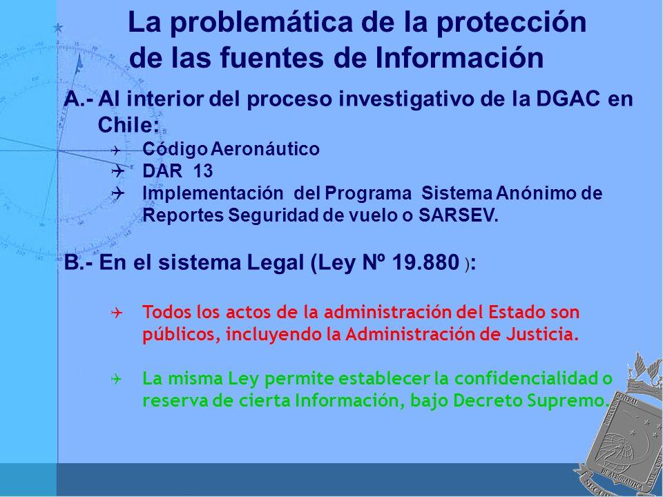 A.- Al interior del proceso investigativo de la DGAC en Chile: Código Aeronáutico DAR 13 Implementación del Programa Sistema Anónimo de Reportes Segur