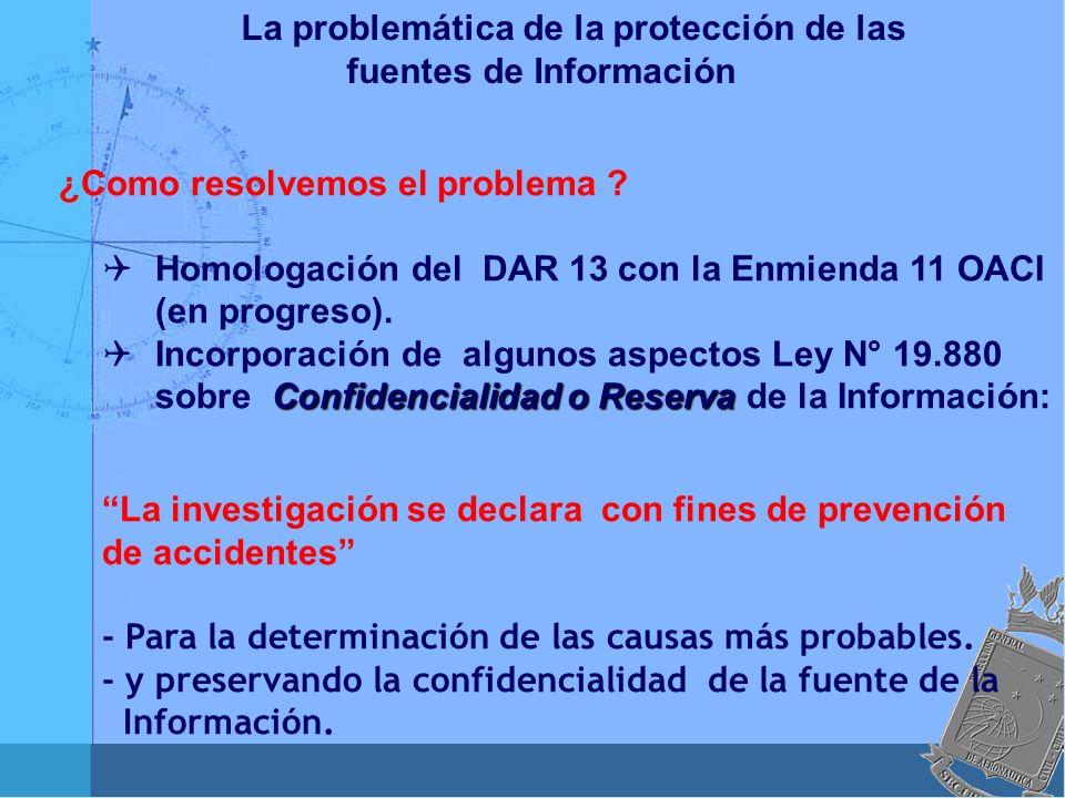 La problemática de la protección de las fuentes de Información ¿Como resolvemos el problema ? Homologación del DAR 13 con la Enmienda 11 OACI (en prog