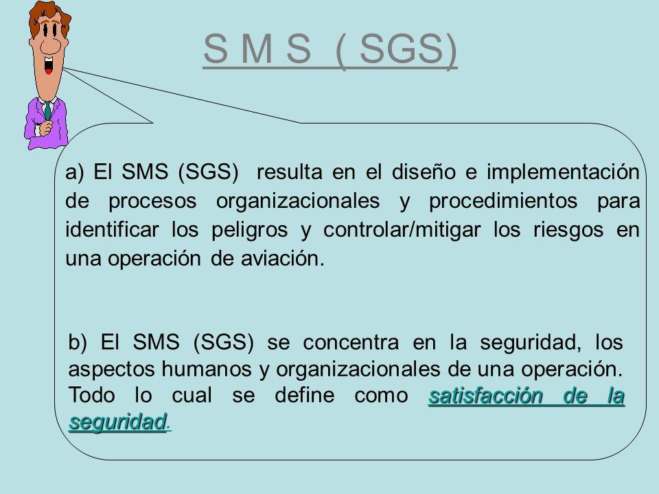 S M S ( SGS) a) El SMS (SGS) resulta en el diseño e implementación de procesos organizacionales y procedimientos para identificar los peligros y contr