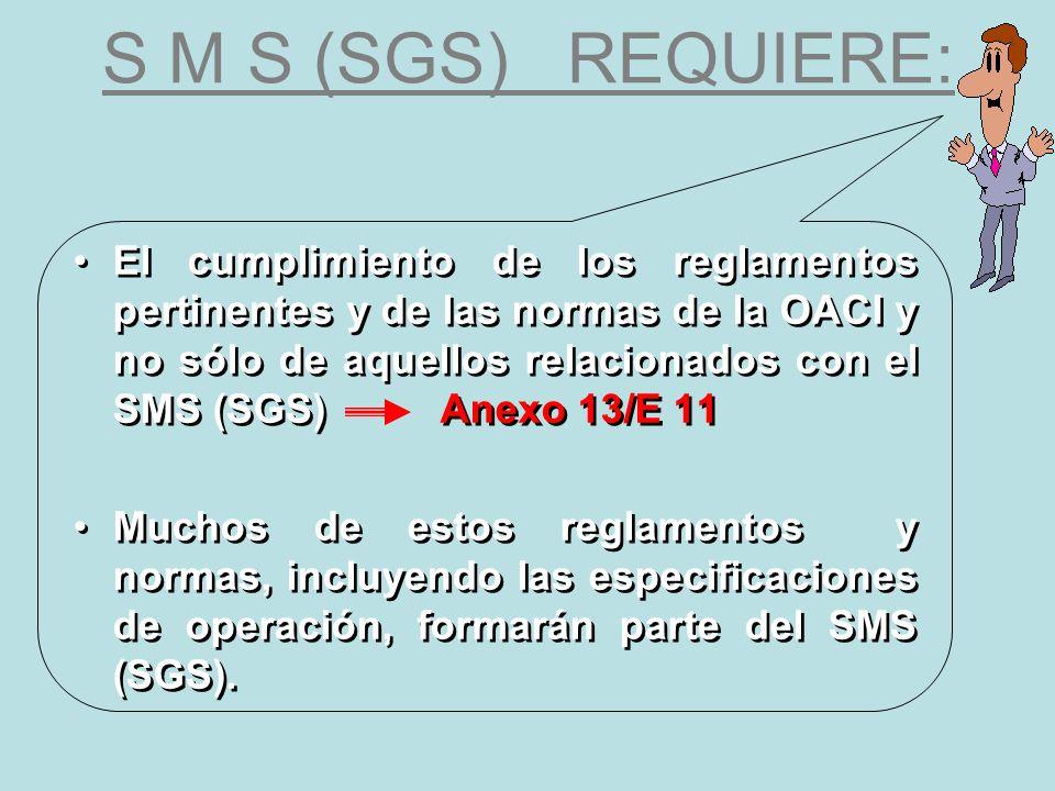 S M S (SGS) REQUIERE: El cumplimiento de los reglamentos pertinentes y de las normas de la OACI y no sólo de aquellos relacionados con el SMS (SGS) An