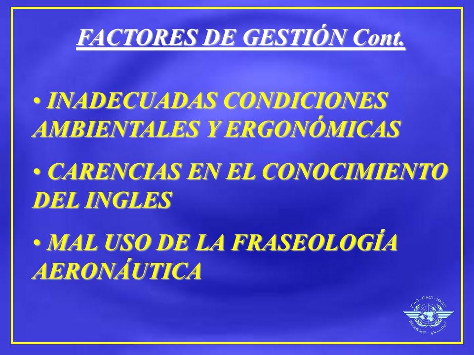 FACTORES DE GESTIÓN Cont. INADECUADAS CONDICIONES AMBIENTALES Y ERGONÓMICAS INADECUADAS CONDICIONES AMBIENTALES Y ERGONÓMICAS CARENCIAS EN EL CONOCIMI