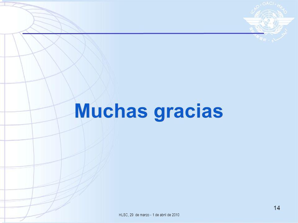 Muchas gracias 14 HLSC, 29 de marzo - 1 de abril de 2010
