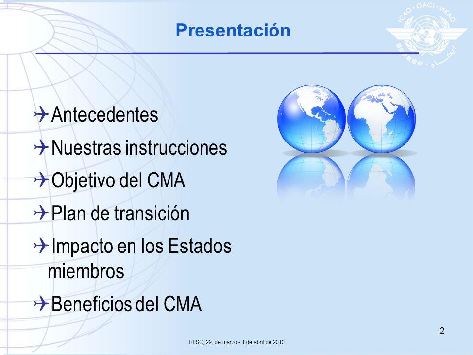 Presentación Antecedentes Nuestras instrucciones Objetivo del CMA Plan de transición Impacto en los Estados miembros Beneficios del CMA HLSC, 29 de ma