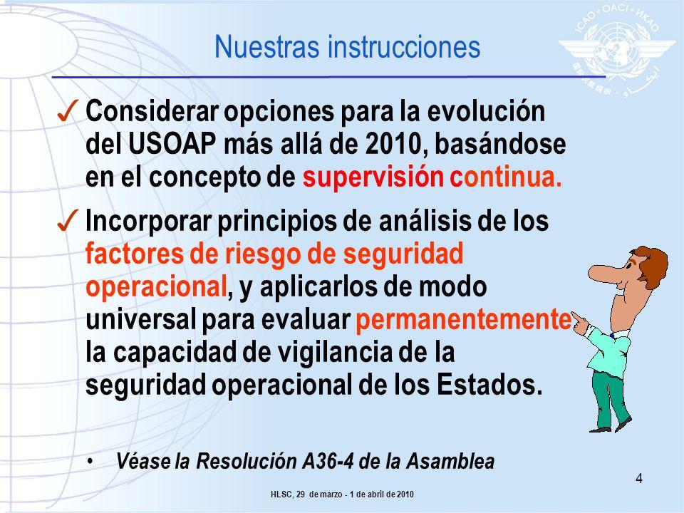 Considerar opciones para la evolución del USOAP más allá de 2010, basándose en el concepto de supervisión continua. Incorporar principios de análisis