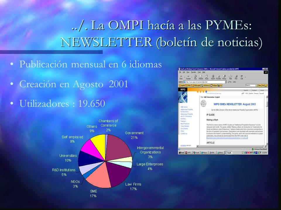 Publicación mensual en 6 idiomas Creación en Agosto 2001 Utilizadores : 19.650../.