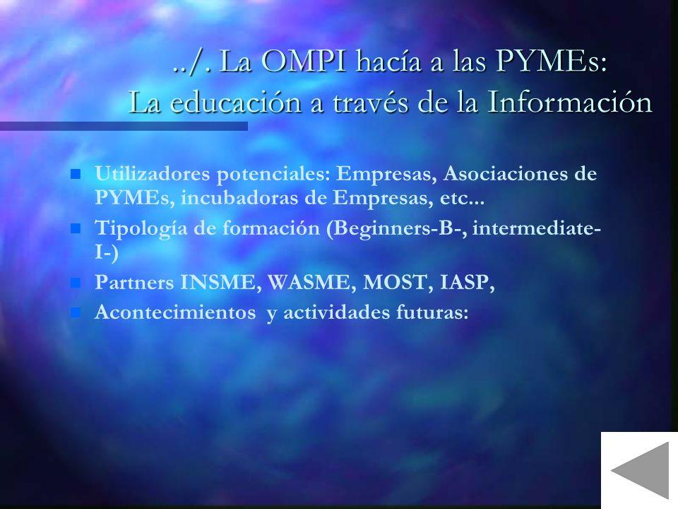 n n Utilizadores potenciales: Empresas, Asociaciones de PYMEs, incubadoras de Empresas, etc...