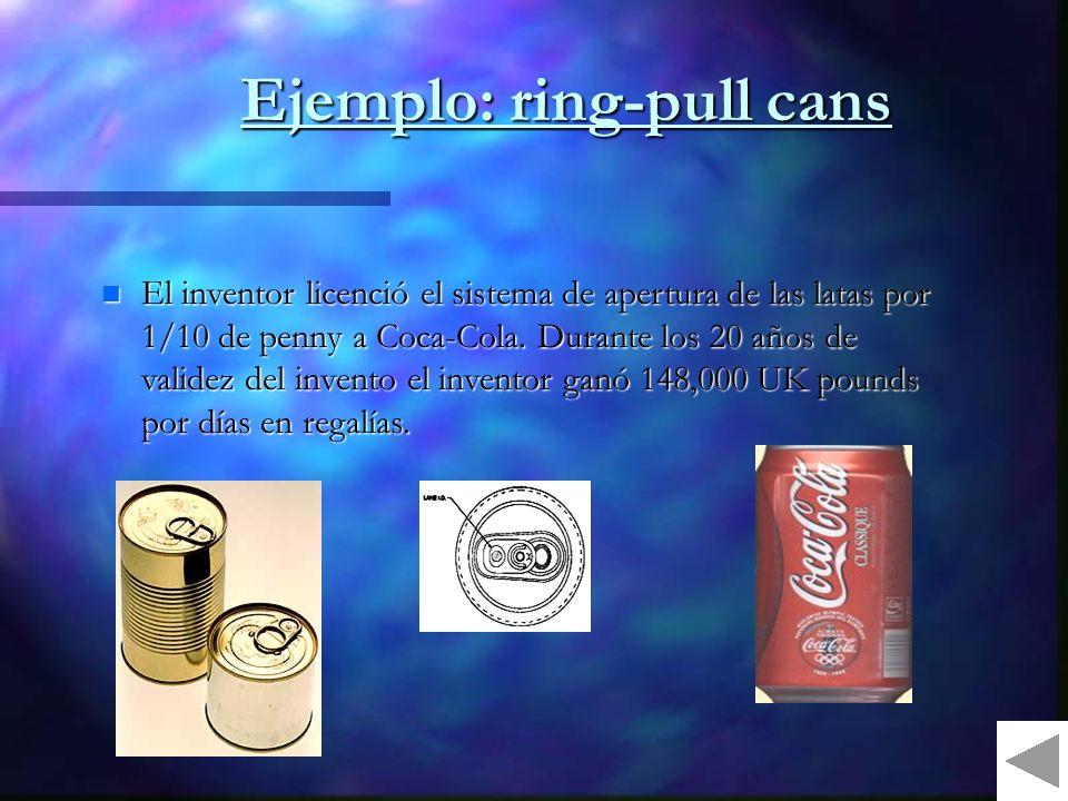 Ejemplo: ring-pull cans El inventor licenció el sistema de apertura de las latas por 1/10 de penny a Coca-Cola.