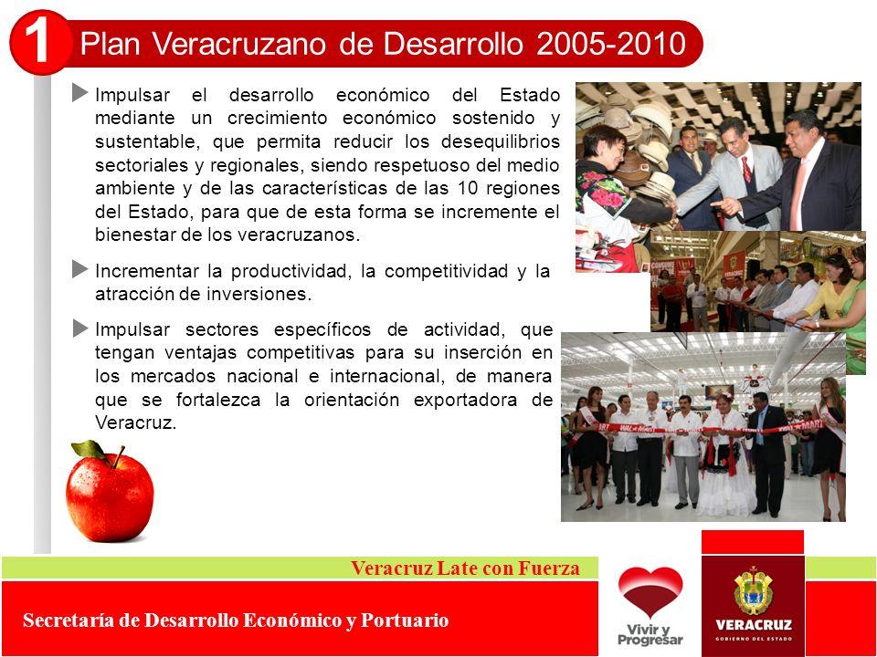 Plan Veracruzano de Desarrollo 2005-2010 1 Impulsar el desarrollo económico del Estado mediante un crecimiento económico sostenido y sustentable, que
