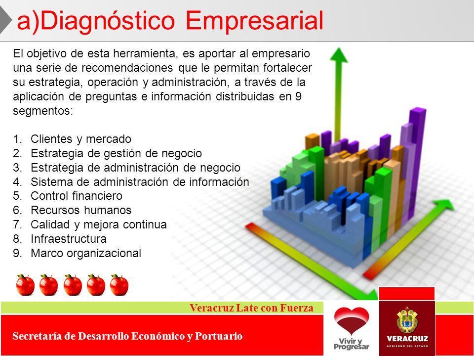Veracruz Late con Fuerza Secretaría de Desarrollo Económico y Portuario a)Diagnóstico Empresarial El objetivo de esta herramienta, es aportar al empre