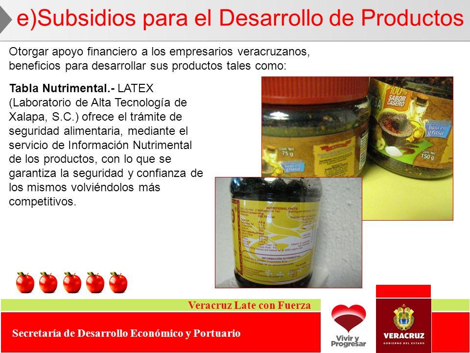 Veracruz Late con Fuerza Secretaría de Desarrollo Económico y Portuario e)Subsidios para el Desarrollo de Productos Otorgar apoyo financiero a los emp