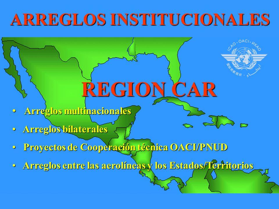 ARREGLOS INSTITUCIONALES REGION CAR Arreglos multinacionales Arreglos multinacionales Arreglos bilaterales Arreglos bilaterales Proyectos de Cooperación técnica OACI/PNUD Proyectos de Cooperación técnica OACI/PNUD Arreglos entre las aerolíneas y los Estados/Territorios Arreglos entre las aerolíneas y los Estados/Territorios