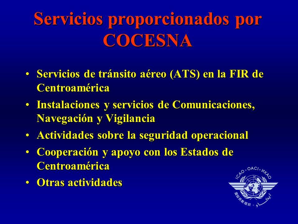 Servicios proporcionados por COCESNA Servicios de tránsito aéreo (ATS) en la FIR de CentroaméricaServicios de tránsito aéreo (ATS) en la FIR de Centroamérica Instalaciones y servicios de Comunicaciones, Navegación y VigilanciaInstalaciones y servicios de Comunicaciones, Navegación y Vigilancia Actividades sobre la seguridad operacionalActividades sobre la seguridad operacional Cooperación y apoyo con los Estados de CentroaméricaCooperación y apoyo con los Estados de Centroamérica Otras actividadesOtras actividades