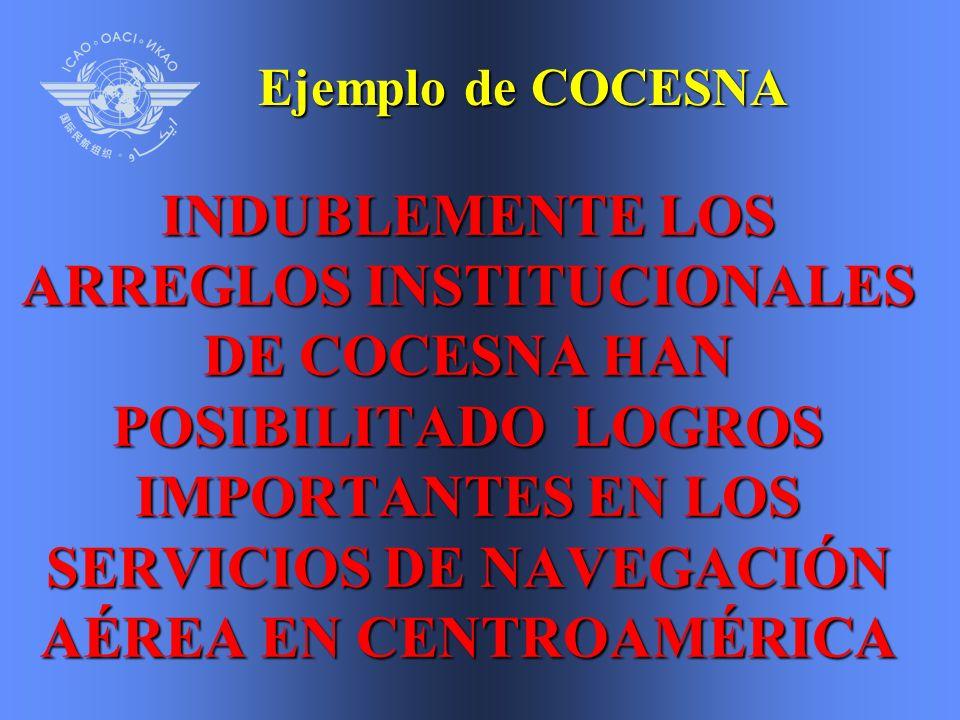 INDUBLEMENTE LOS ARREGLOS INSTITUCIONALES DE COCESNA HAN POSIBILITADO LOGROS IMPORTANTES EN LOS SERVICIOS DE NAVEGACIÓN AÉREA EN CENTROAMÉRICA Ejemplo