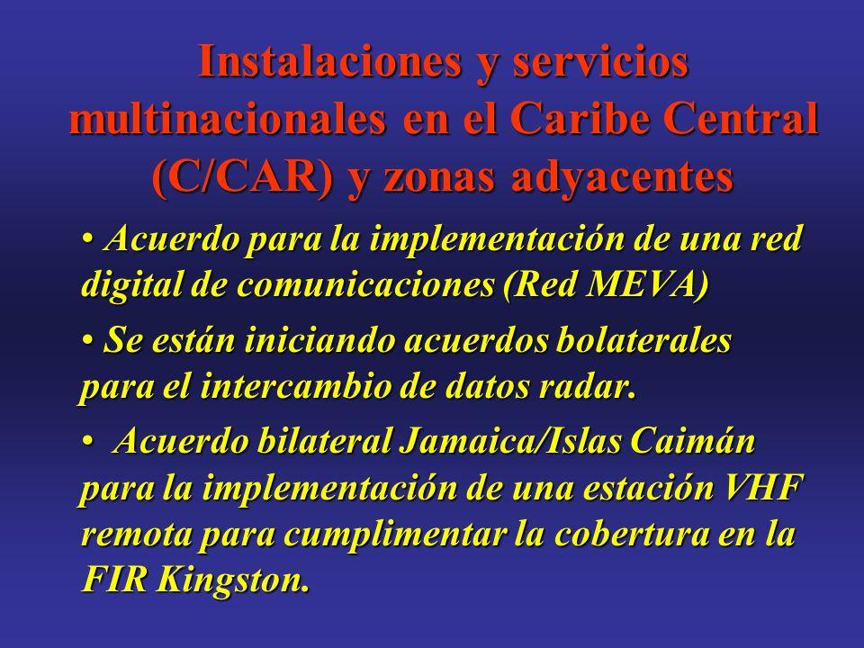 Instalaciones y servicios multinacionales en el Caribe Central (C/CAR) y zonas adyacentes Acuerdo para la implementación de una red digital de comunicaciones (Red MEVA) Acuerdo para la implementación de una red digital de comunicaciones (Red MEVA) Se están iniciando acuerdos bolaterales para el intercambio de datos radar.