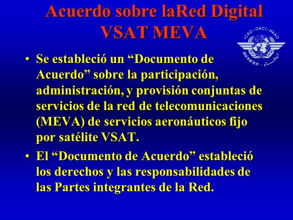 Acuerdo sobre laRed Digital VSAT MEVA Se estableció un Documento de Acuerdo sobre la participación, administración, y provisión conjuntas de servicios de la red de telecomunicaciones (MEVA) de servicios aeronáuticos fijo por satélite VSAT.Se estableció un Documento de Acuerdo sobre la participación, administración, y provisión conjuntas de servicios de la red de telecomunicaciones (MEVA) de servicios aeronáuticos fijo por satélite VSAT.