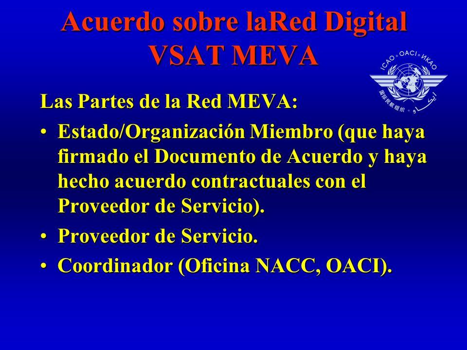 Acuerdo sobre laRed Digital VSAT MEVA Las Partes de la Red MEVA: Estado/Organización Miembro (que haya firmado el Documento de Acuerdo y haya hecho acuerdo contractuales con el Proveedor de Servicio).Estado/Organización Miembro (que haya firmado el Documento de Acuerdo y haya hecho acuerdo contractuales con el Proveedor de Servicio).