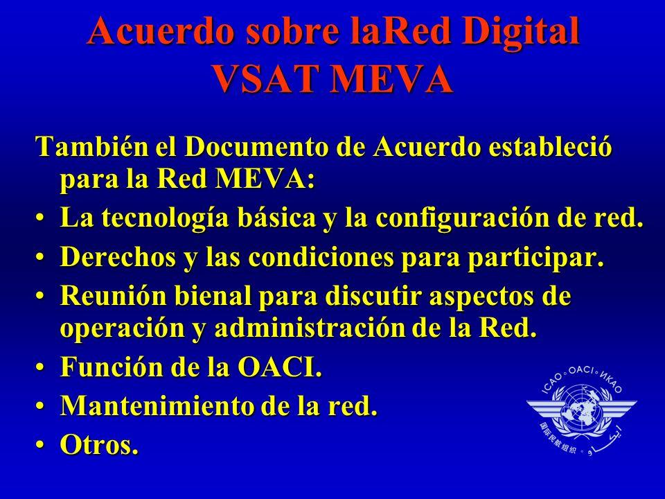 Acuerdo sobre laRed Digital VSAT MEVA También el Documento de Acuerdo estableció para la Red MEVA: La tecnología básica y la configuración de red.La tecnología básica y la configuración de red.