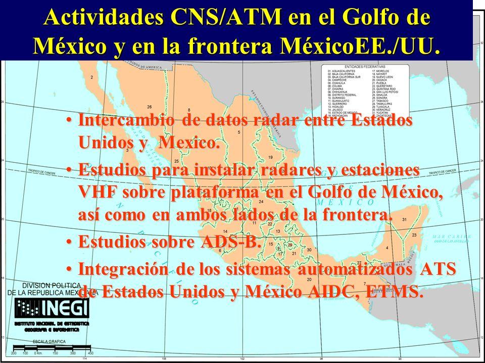 Actividades CNS/ATM en el Golfo de México y en la frontera MéxicoEE./UU. Intercambio de datos radar entre Estados Unidos y Mexico.Intercambio de datos