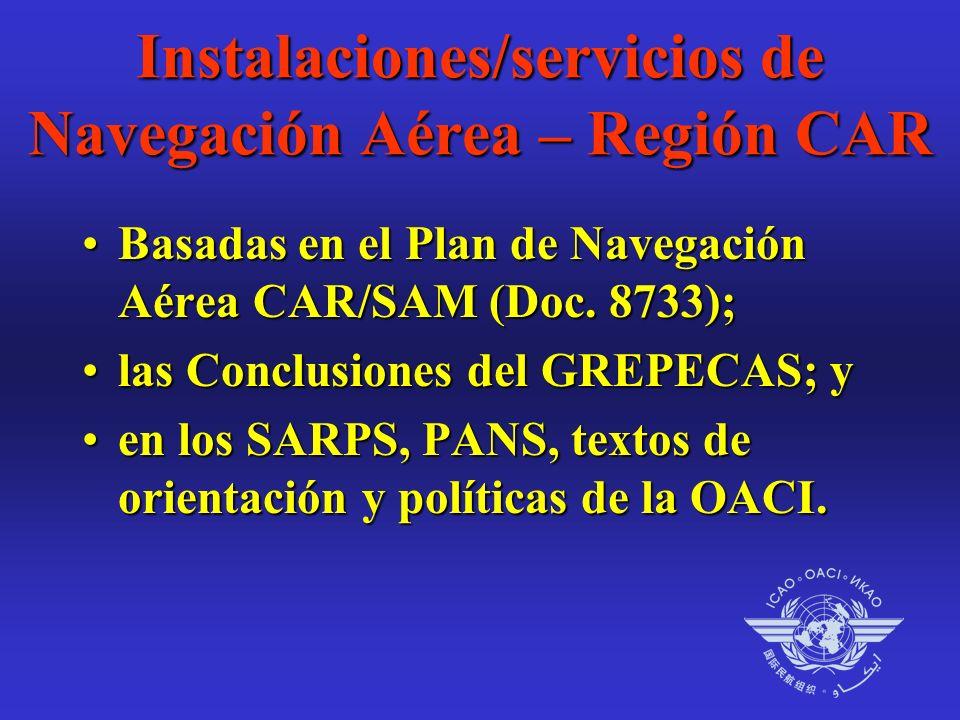 Instalaciones/servicios de Navegación Aérea – Región CAR Basadas en el Plan de Navegación Aérea CAR/SAM (Doc. 8733);Basadas en el Plan de Navegación A