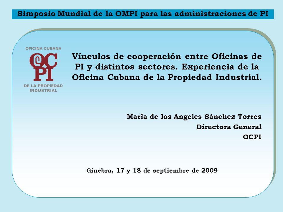 Misión Políticas públicas Compromisos Internacionales Estimular la innovación y favorecer el desarrollo tecnológico, económico y social del país Simposio Mundial de la OMPI para las administraciones de PI