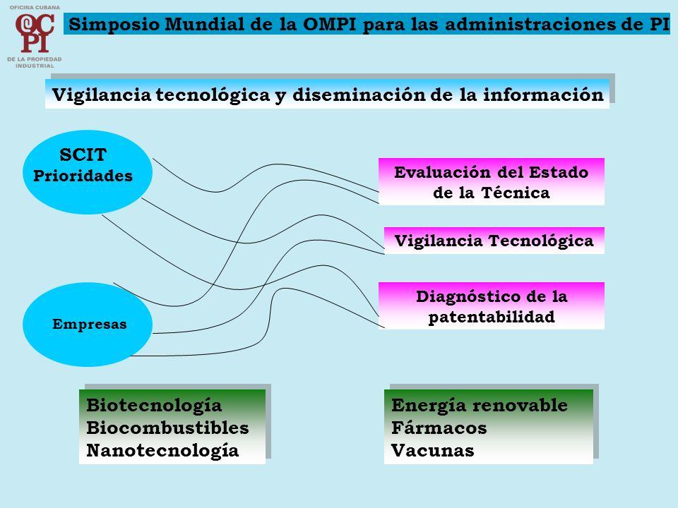 Vigilancia tecnológica y diseminación de la información SCIT Prioridades Evaluación del Estado de la Técnica Vigilancia Tecnológica Diagnóstico de la