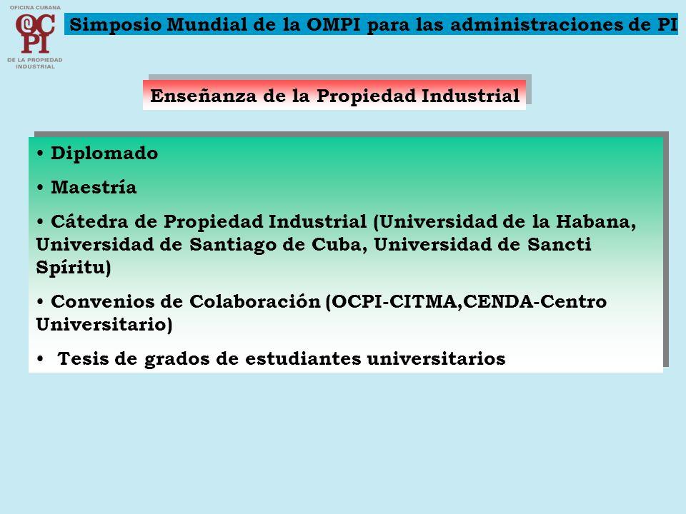 Enseñanza de la Propiedad Industrial Diplomado Maestría Cátedra de Propiedad Industrial (Universidad de la Habana, Universidad de Santiago de Cuba, Un