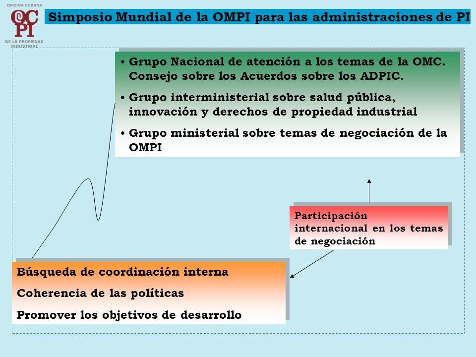 Grupo Nacional de atención a los temas de la OMC. Consejo sobre los Acuerdos sobre los ADPIC. Grupo interministerial sobre salud pública, innovación y
