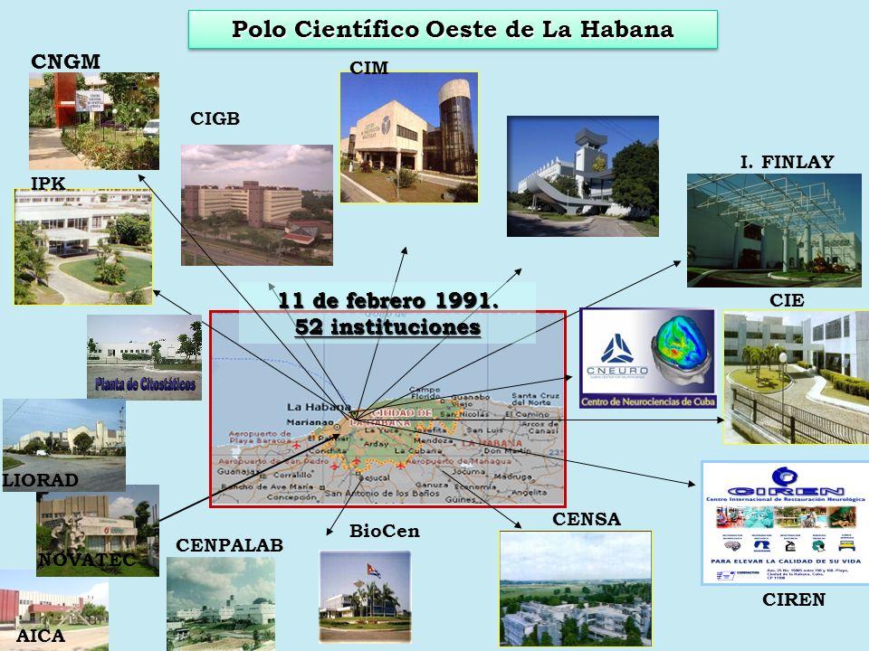IPK CIM BioCen CIGB CENIC CIE CENSA CIREN I. FINLAY LIORAD NOVATEC AICA CENPALAB 11 de febrero 1991. 52 instituciones CNGM Polo Científico Oeste de La