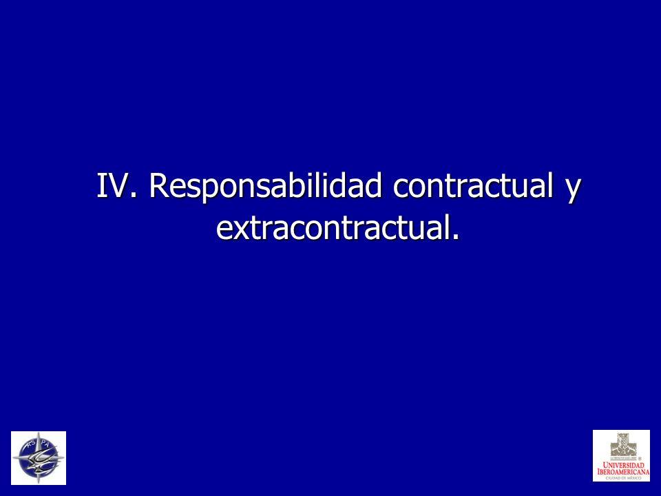 IV. Responsabilidad contractual y extracontractual.