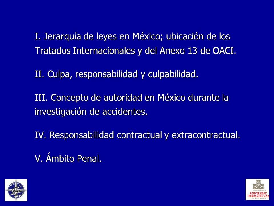 I. Jerarquía de leyes en México; ubicación de los Tratados Internacionales y del Anexo 13 de OACI. II. Culpa, responsabilidad y culpabilidad. III. Con