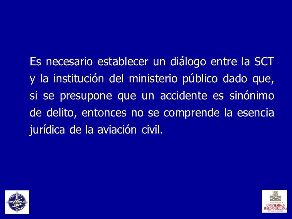 Es necesario establecer un diálogo entre la SCT y la institución del ministerio público dado que, si se presupone que un accidente es sinónimo de deli