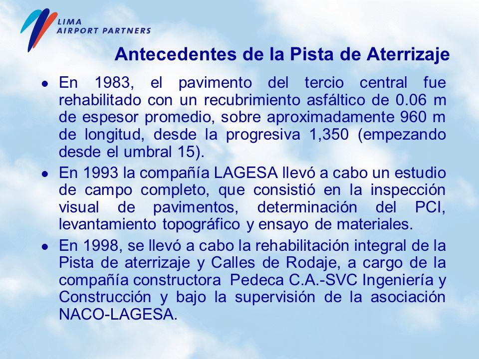En 1983, el pavimento del tercio central fue rehabilitado con un recubrimiento asfáltico de 0.06 m de espesor promedio, sobre aproximadamente 960 m de