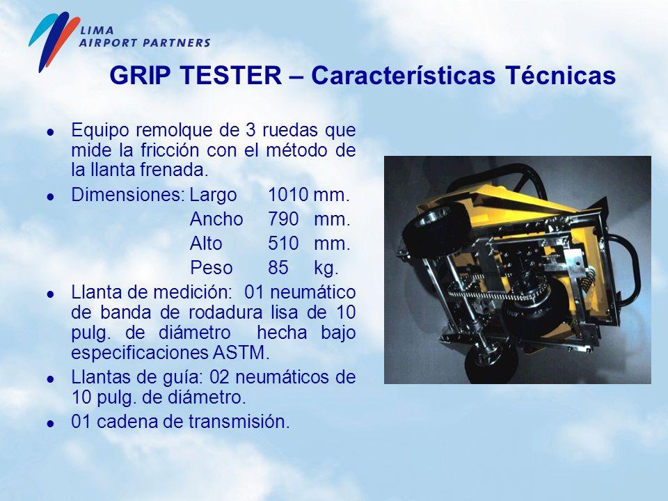 GRIP TESTER – Características Técnicas Equipo remolque de 3 ruedas que mide la fricción con el método de la llanta frenada. Dimensiones: Largo 1010 mm
