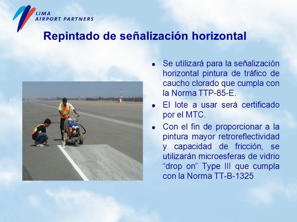 Repintado de señalización horizontal Se utilizará para la señalización horizontal pintura de tráfico de caucho clorado que cumpla con la Norma TTP-85-