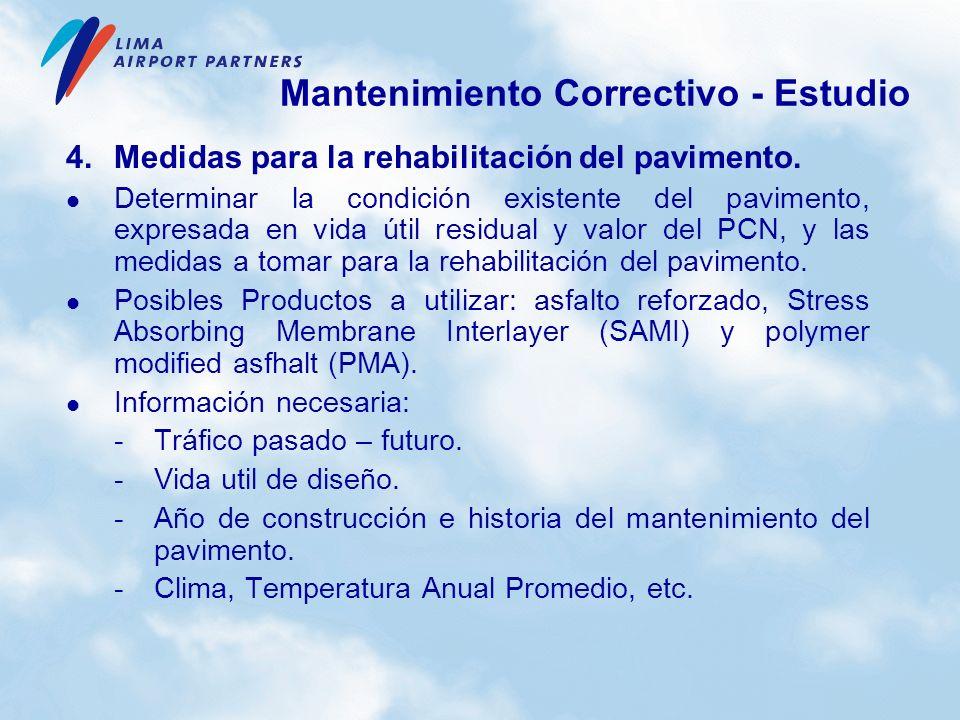 4.Medidas para la rehabilitación del pavimento. Determinar la condición existente del pavimento, expresada en vida útil residual y valor del PCN, y la
