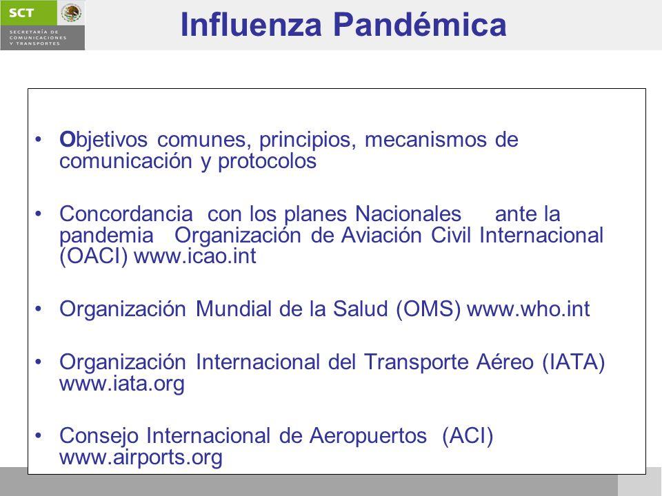 Objetivos comunes, principios, mecanismos de comunicación y protocolos Concordancia con los planes Nacionales ante la pandemia Organización de Aviació
