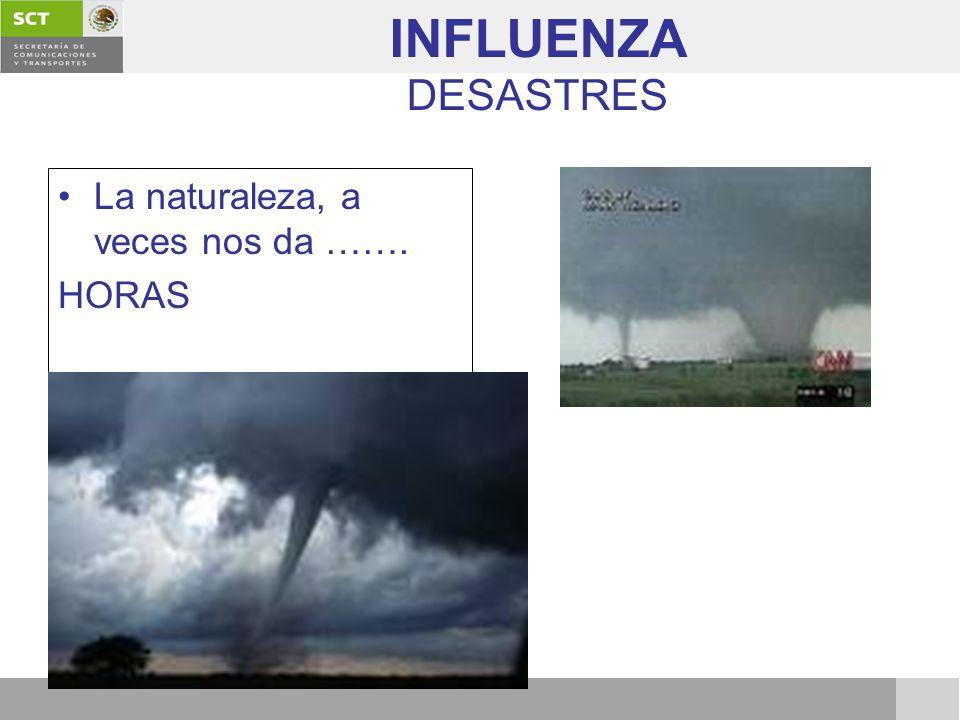 INFLUENZA DESASTRES La naturaleza, a veces nos da ……. HORAS