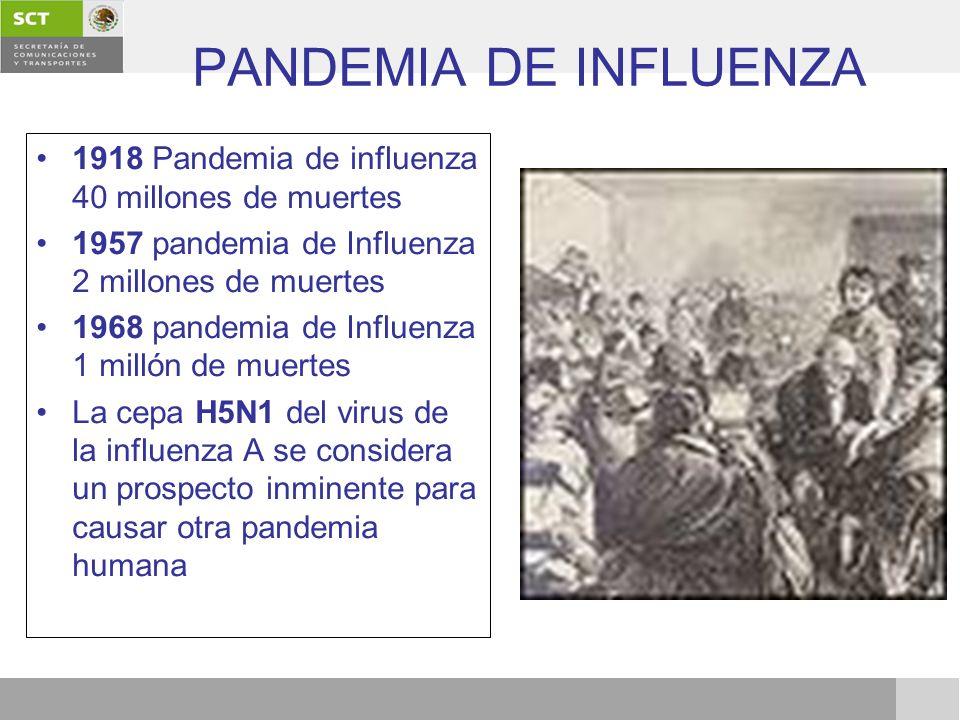 PANDEMIA DE INFLUENZA 1918 Pandemia de influenza 40 millones de muertes 1957 pandemia de Influenza 2 millones de muertes 1968 pandemia de Influenza 1