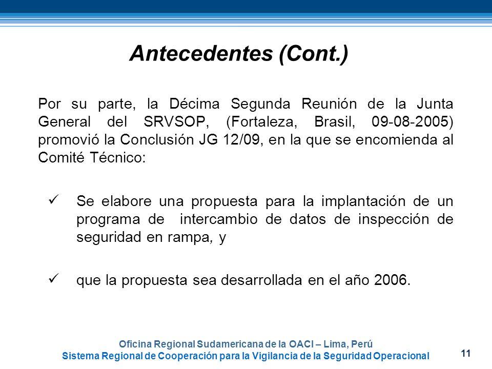 11 Oficina Regional Sudamericana de la OACI – Lima, Perú Sistema Regional de Cooperación para la Vigilancia de la Seguridad Operacional Antecedentes (