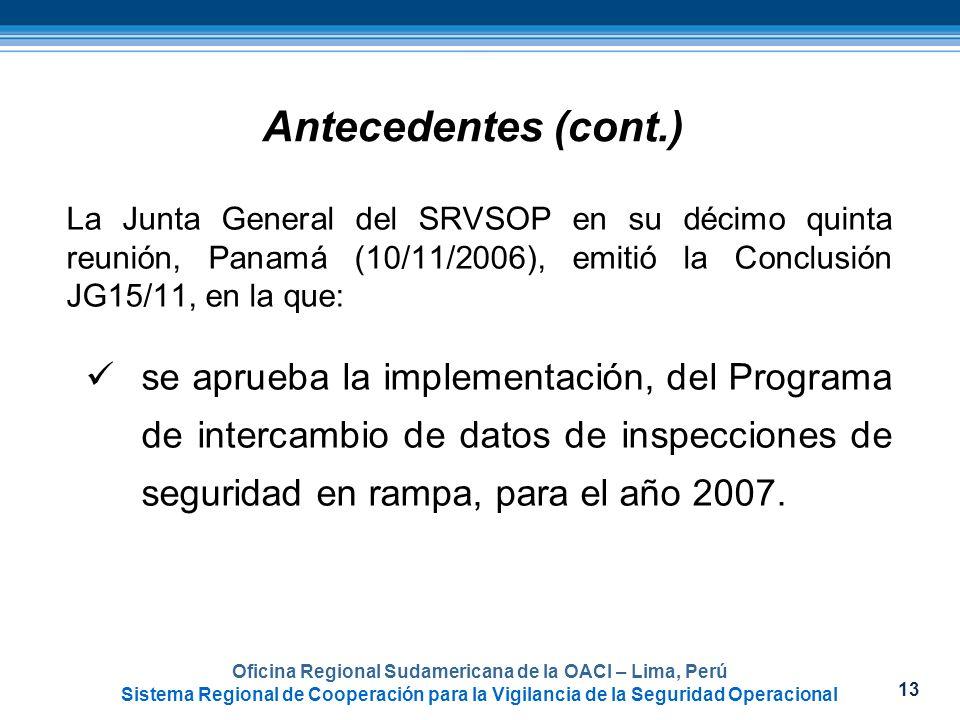 13 Oficina Regional Sudamericana de la OACI – Lima, Perú Sistema Regional de Cooperación para la Vigilancia de la Seguridad Operacional Antecedentes (
