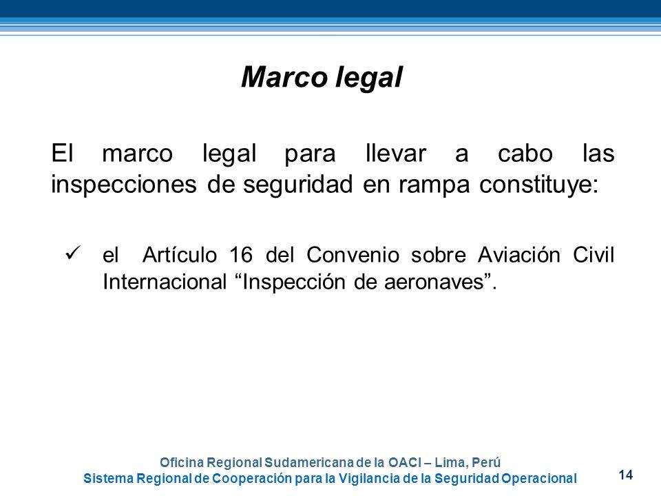 14 Oficina Regional Sudamericana de la OACI – Lima, Perú Sistema Regional de Cooperación para la Vigilancia de la Seguridad Operacional Marco legal El