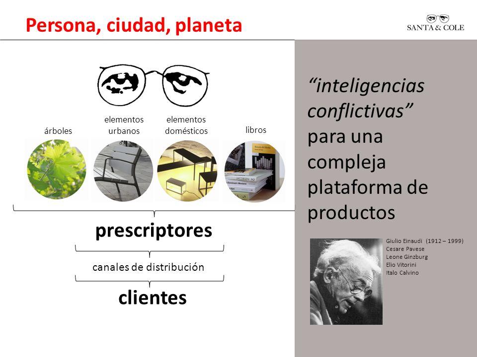 Persona, ciudad, planeta prescriptores canales de distribución clientes inteligencias conflictivas para una compleja plataforma de productos Giulio Ei